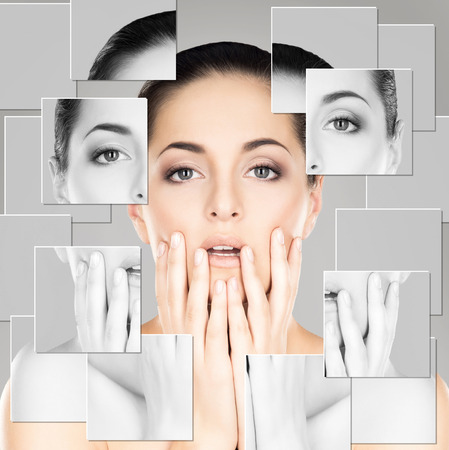 lift hands: Portrait of young, healthy and beautiful woman (plastic surgery, medicine, spa, cosmetics and visage concept)
