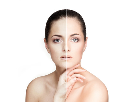 Half old and half young female?s portrait. Aging concept.