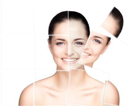Portrait de jeune, saine et belle femme (chirurgie plastique, la médecine, spa, cosmétiques et le concept de visage) Banque d'images - 37818393