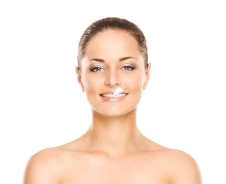 Beautiful smile of the young, attractive, fresh, healthy and natural woman (before and after concept) Stockfoto