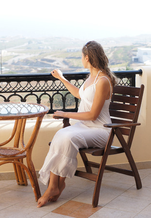 attractive pregnant: Young attractive pregnant woman chilling at the turist resort
