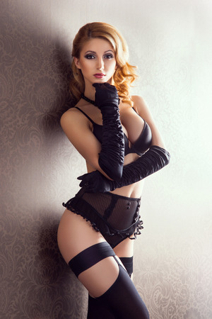 sexy nude blonde: Young and beautiful cabaret dancer in sexy vintage lingerie