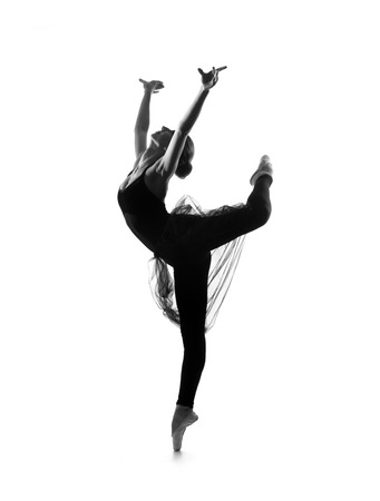 Black and white trace of young beautiful ballet dancer isolated over white background Banco de Imagens