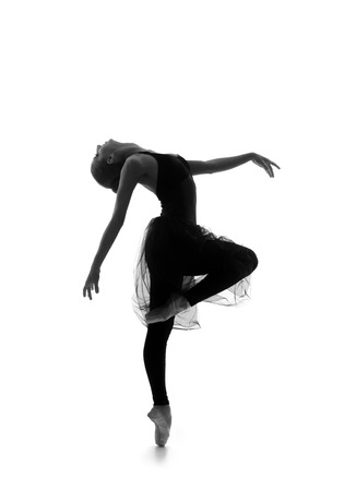 Black and white trace of young beautiful ballet dancer isolated over white background Stockfoto