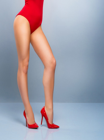 ass christmas: Sexy female legs Stock Photo