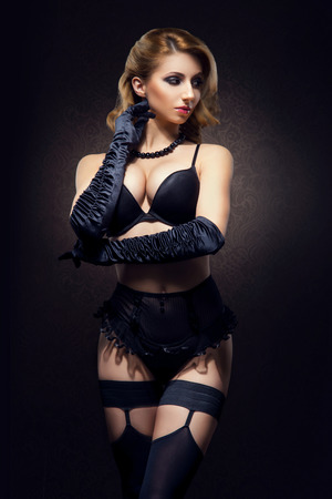 sexy boobs: Young and beautiful cabaret dancer in sexy vintage lingerie