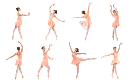 Set of different ballet poses isolated on white. photo