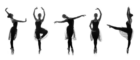 modern girl: Collection of different ballet poses. Black and white silhouettes isolated on white.