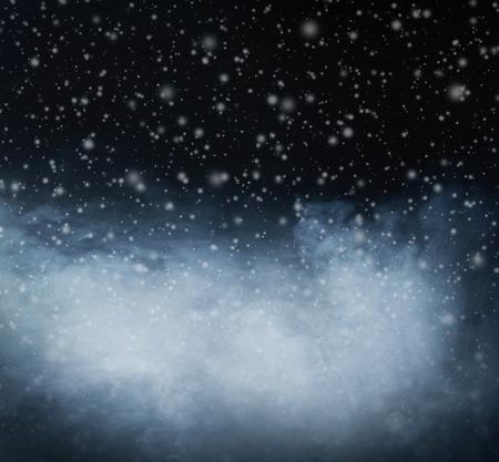 suspenso: Resumen de antecedentes de Navidad. El humo y copos de nieve. Foto de archivo
