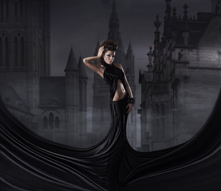 sexy vampire: Halloween collage with the sexy vampire and a night background