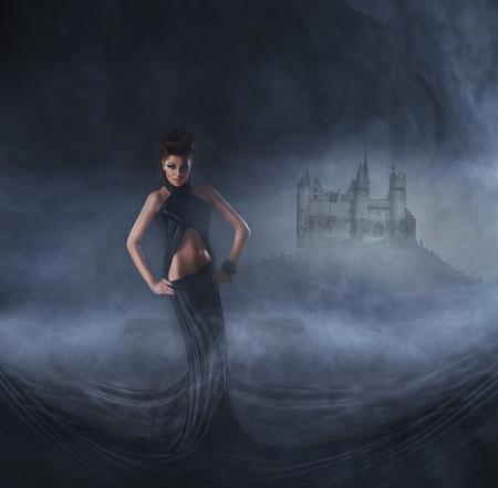 vampira sexy: Collage de Halloween con el vampiro sexy y un fondo de noche