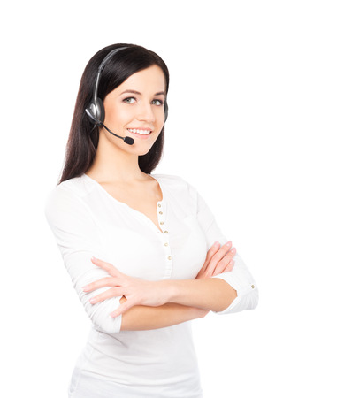 Young, confident and beautiful customer support operator isolated on white Stockfoto