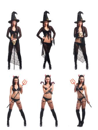 bruja sexy: Conjunto de diversas imágenes de Halloween aislados en blanco