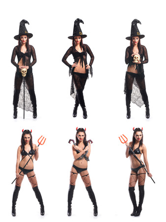 sexy girls party: Set of different Halloween images isolated on white Stock Photo