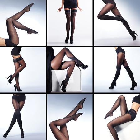 pantimedias: Conjunto de las piernas atractivas en medias sobre el fondo blanco (muchos marcos diferentes)