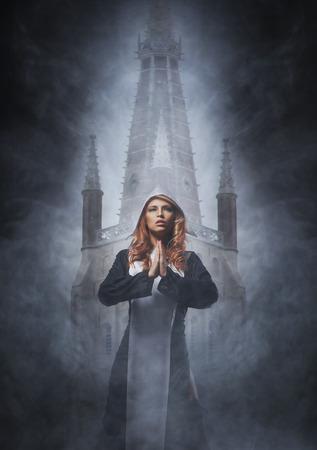 religious habit: Fashion shoot of young sexy nun