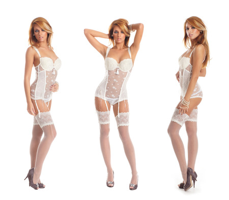 redhead lingerie: Young and sexy redhead woman in white lingerie Stock Photo