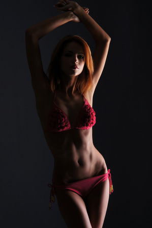 woman with red lingerie  Stock Photo