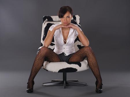 Sexy lady over dark background photo