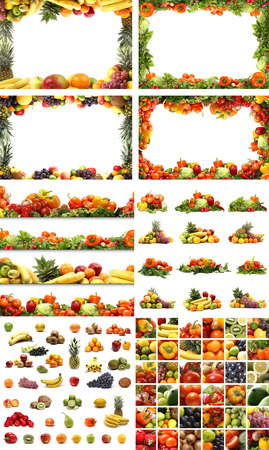 Set of different nutrition elements. Necessary for  food designs. Imagens