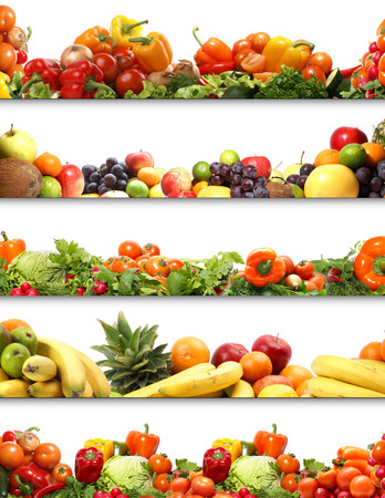 5 nutrition textures (fruits and vegetables isolated on white)