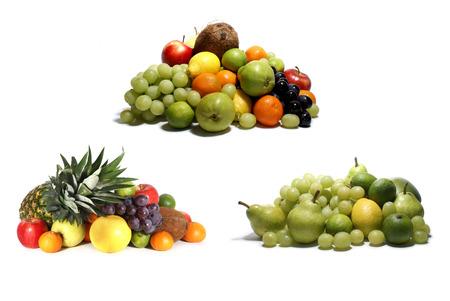 bitter orange: 3 sets of bright tasty fruits isolated on white