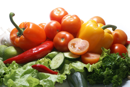 caustic: Different fresh tasty vegetables isolated on white background Stock Photo