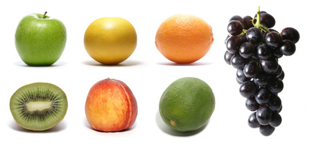 bitter orange: Set of different bright tasty fruits isolated on white