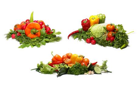 bitter orange: Different fresh tasty vegetables isolated on white background Stock Photo