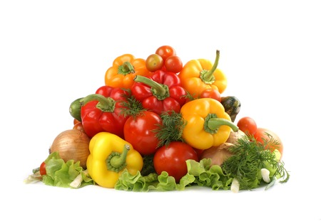 caustic: Vegetables isolated on white