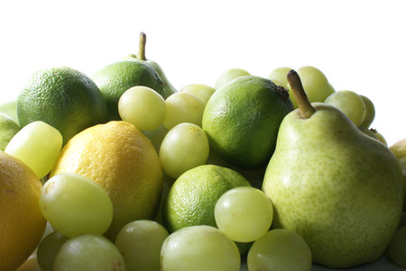 caustic: Set of green tasty fruits on white background