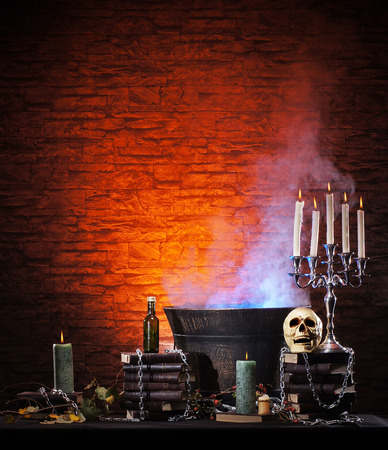 horror background: Halloween still-life background with a lot of different elements