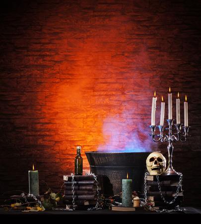 Halloween background morte avec beaucoup de différents éléments Banque d'images - 38386961