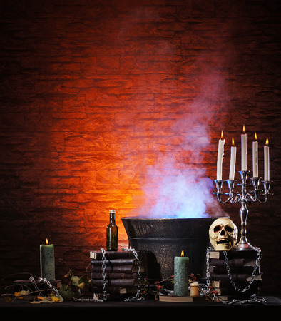 exorcism: Halloween still-life background with a lot of different elements