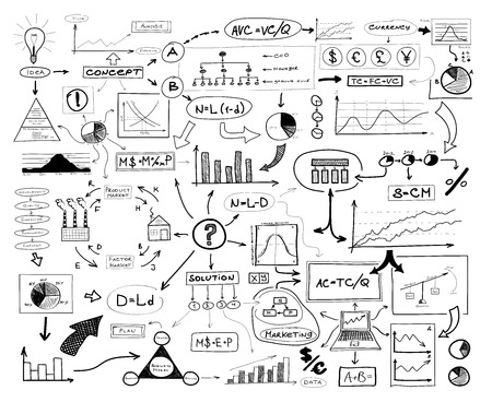 economic theory: Black and white drawing of many different business elements. Finances, money, success and market concept. Stock Photo