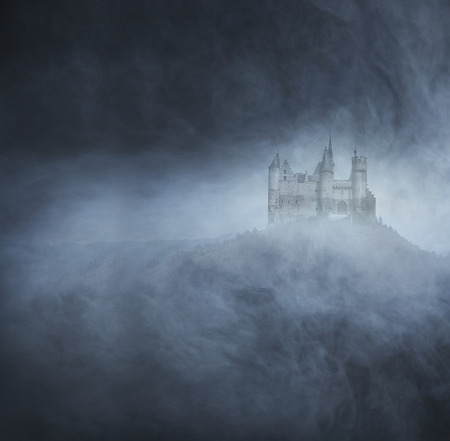 Halloween background with spooky and ancient castle on the mountain
