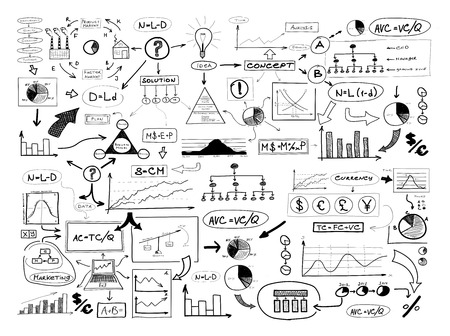 Black and white drawing of many different business elements. Finances, money, success and market concept. Stock Photo