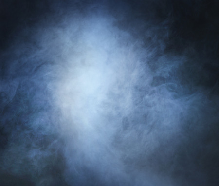 blue grey: Smoke over black background Stock Photo