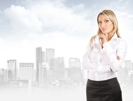 executive women: Young attractive businesswoman over urban background Stock Photo
