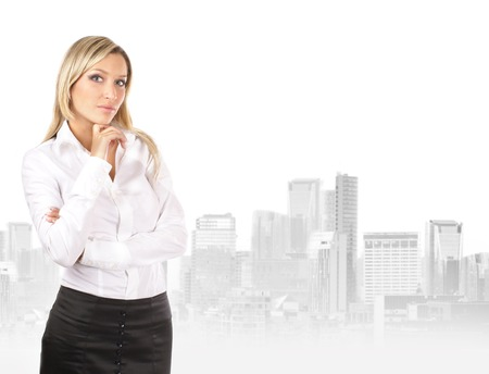 attractive businesswoman: Young attractive businesswoman over urban background Stock Photo