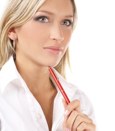 executive women: Young attractive business woman isolated over white background