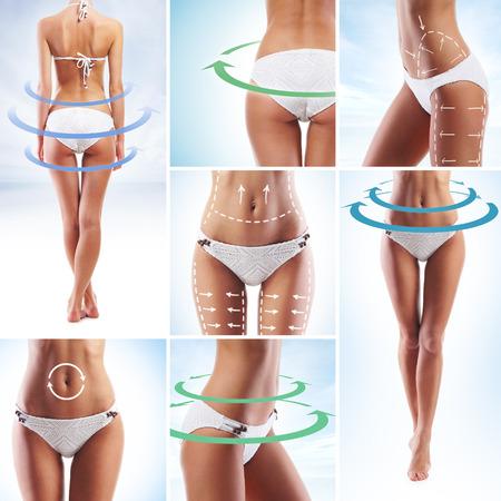 culo: Corpo sportivo e belle donne con le frecce (una sana alimentazione, vitamine e raccolta nutrizione)