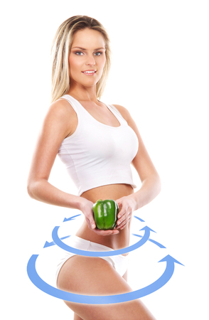 it is isolated: Female body with the drawing arrows on it isolated on white. Healthy eating concept. Stock Photo