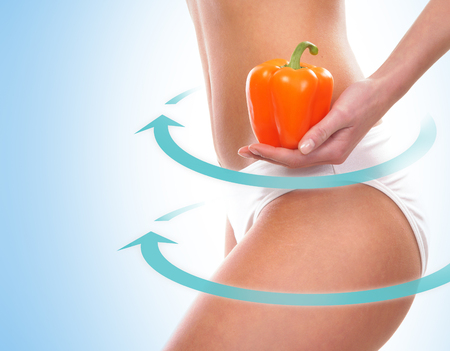 fat food: Fit female body, Dieting concept over blue background.