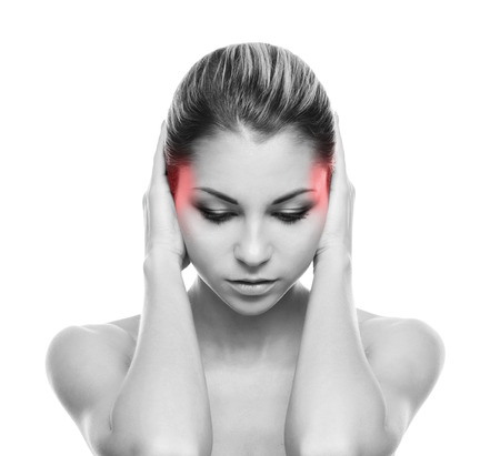 head ache: Beautiful woman suffering from the head ache Stock Photo