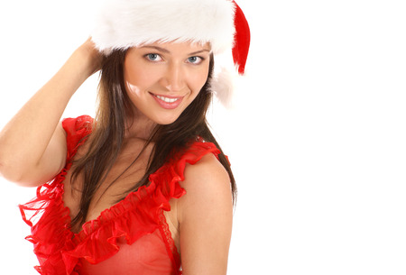 Young sexy Santa isolated on white Stock Photo