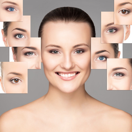 optometry: Portrait of young, healthy and beautiful woman (ophthalmology, optometry and contact lenses choice concept)