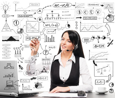 schemes: Call center service manager working in office. Businesswoman drawing conceptual schemes and diagrams isolated on white. Stock Photo
