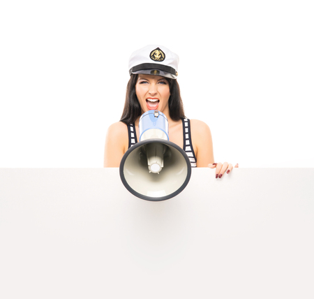 sailor girl: Young, beautiful and sexy sailor girl isolated on white background