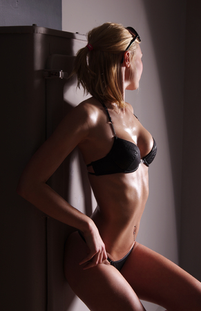 nude blond girl: Young sexy blond in erotic lingerie